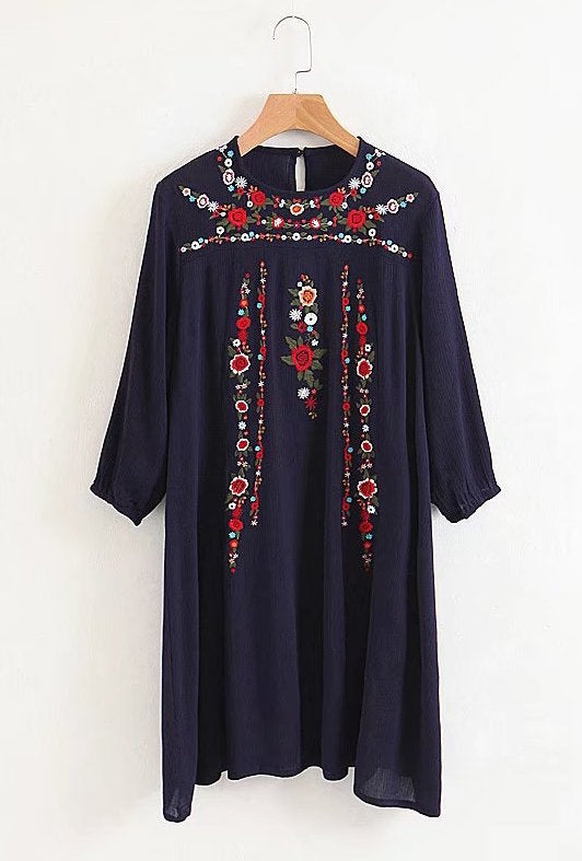 'Nia' Embroidered Tunic Dress (3 Colors)