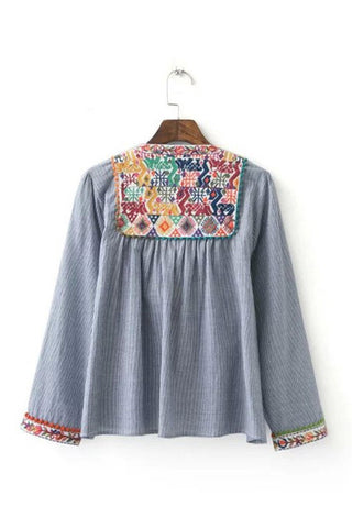 'Santorini' Rainbow Chambray Pom Pom Boho Embroidered Jacket