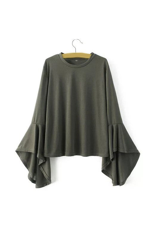 'Deb' Military Green Bell Sleeved Tee