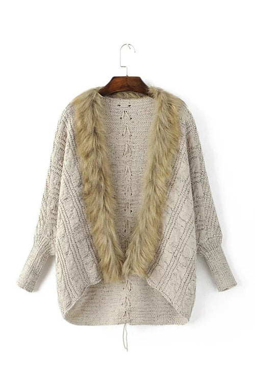 'Roselle' Faux Fur Collar Cardigan