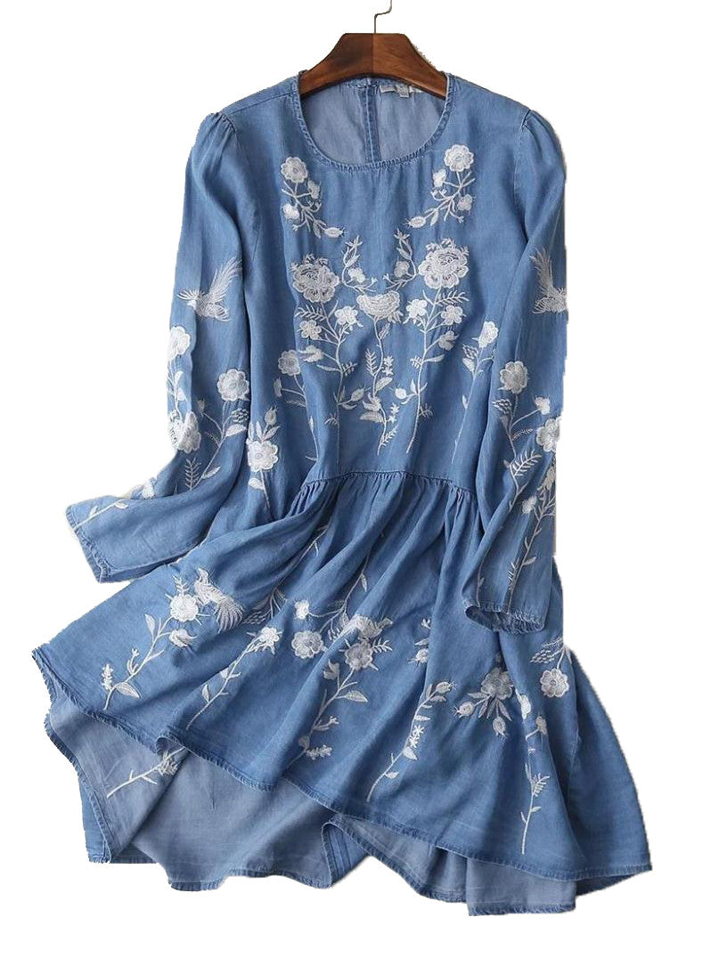 'Marleen' Embroidered Blue Chambray Tunic