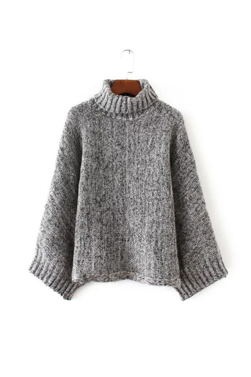'Trish' Charcoal Gray Marl Turtleneck Sweater