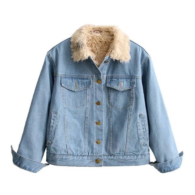 'Holiday Special' Indigo Wash Fur Lined Denim Jacket