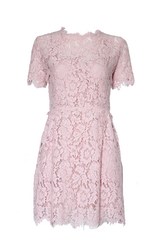 Rosa Pink Floral Lace Short Sleeved Lace Dress - Goodnight Macaroon