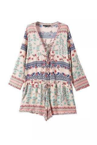 'Elisha' Parisian Floral Criss Cross Romper - Goodnight Macaroon