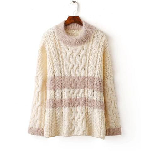 'Joyce' Mock Neck Fluffy Cable Knit Sweater