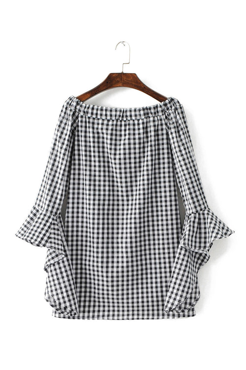'Justine' Gingham Off the Shoulder Waterfall Ruffle Sleeve Dress