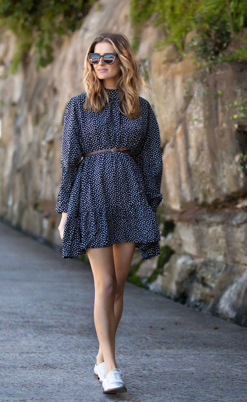 'Laura' Floral Print Parisian Belted Dress - Goodnight Macaroon