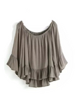 'Lance' Crinkled Off Shoulder Ruffle Batwing Sleeved Sheer Linen Blouse - Goodnight Macaroon