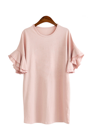 'Ismay' Ruffle Bell Sleeved Casual Cotton Dress - Goodnight Macaroon