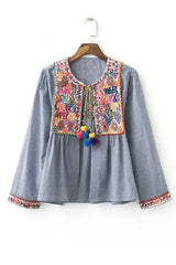 'Santorini' Rainbow Chambray Pom Pom Boho Embroidered Jacket - Goodnight Macaroon