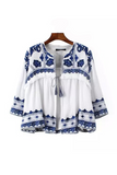 'Morjuet' Handmade Porcelain Embroidered Boho Crinkled Cotton White Jacket - Goodnight Macaroon
