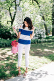 Nautical Stripe Cut Out Shoulder Tee - Goodnight Macaroon