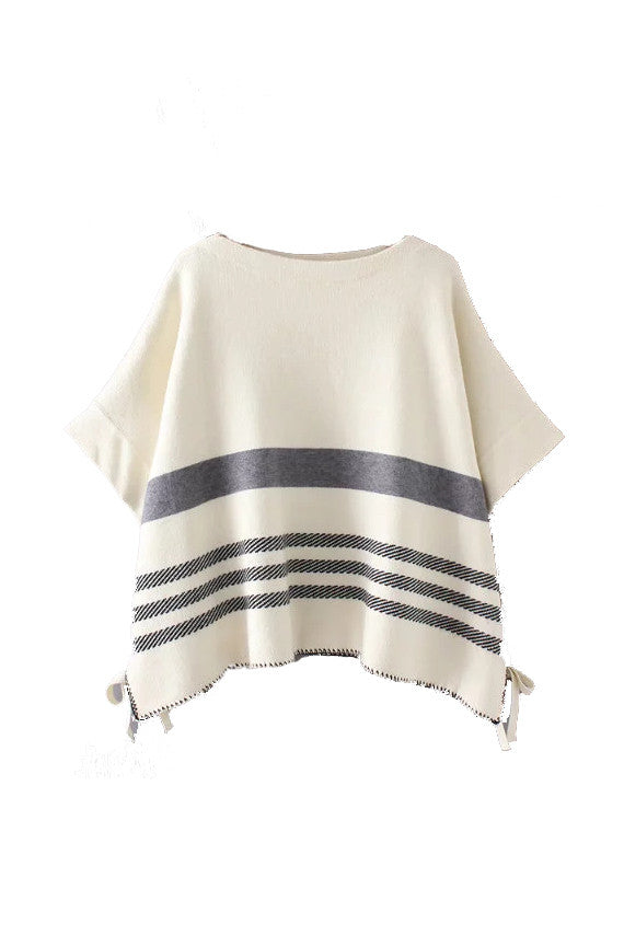 'Bette' Stripe Knitted Poncho Sweater