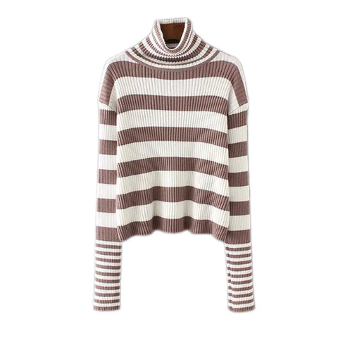 'Zoey' Stripe Turtleneck Sweater