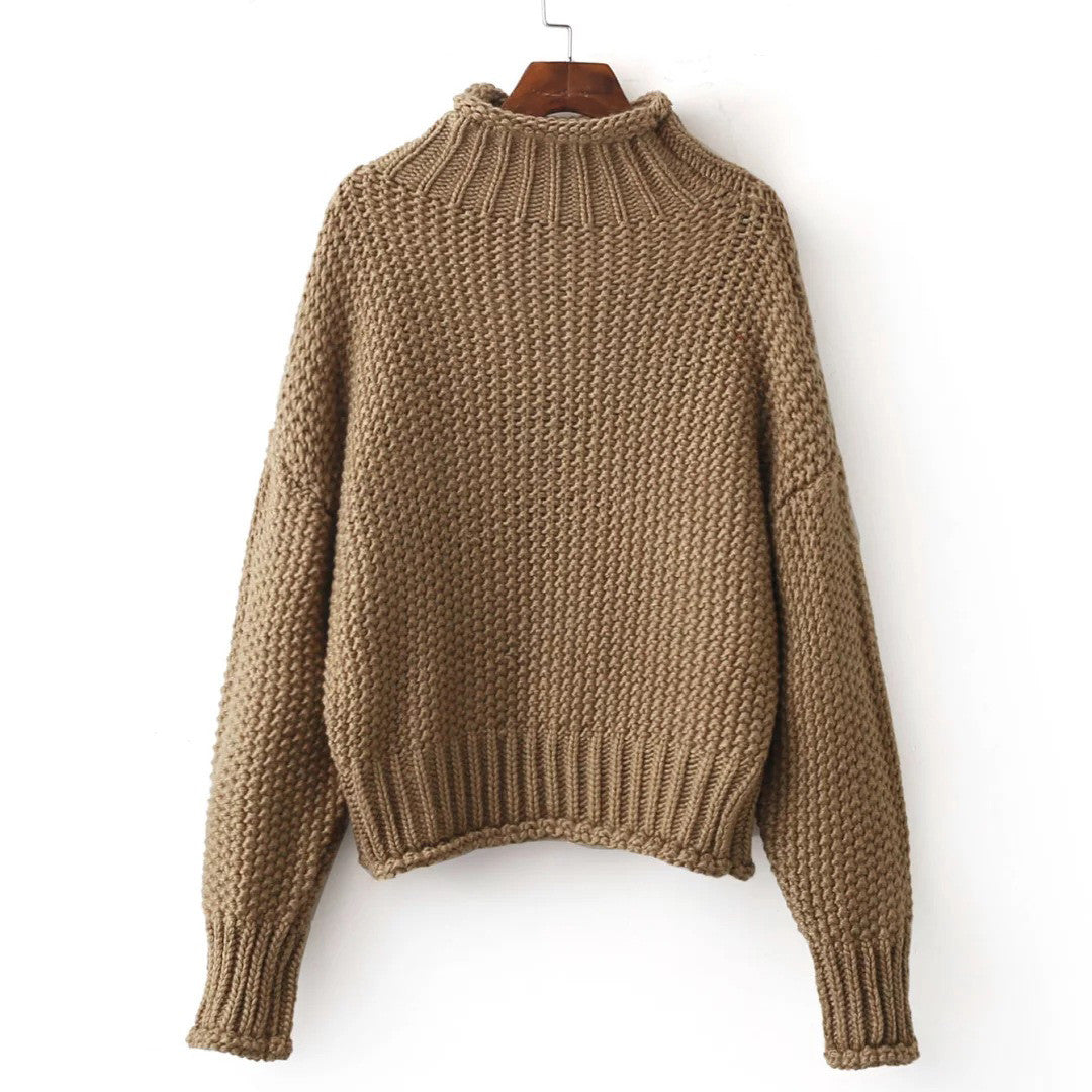'Shirley' Mock Neck Chunky Sweater