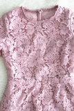 Rosa Pink Floral Lace Short Sleeved Lace Dress