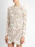 'Lydia' Floral Embroidered Crochet Lace Shift Dress