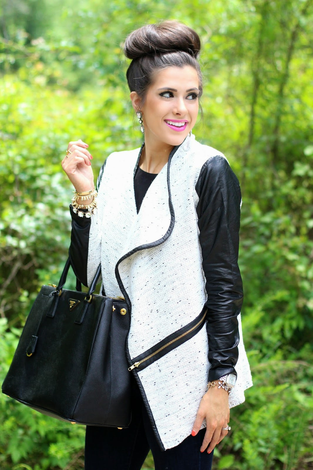 The Leather Trim Cardigan