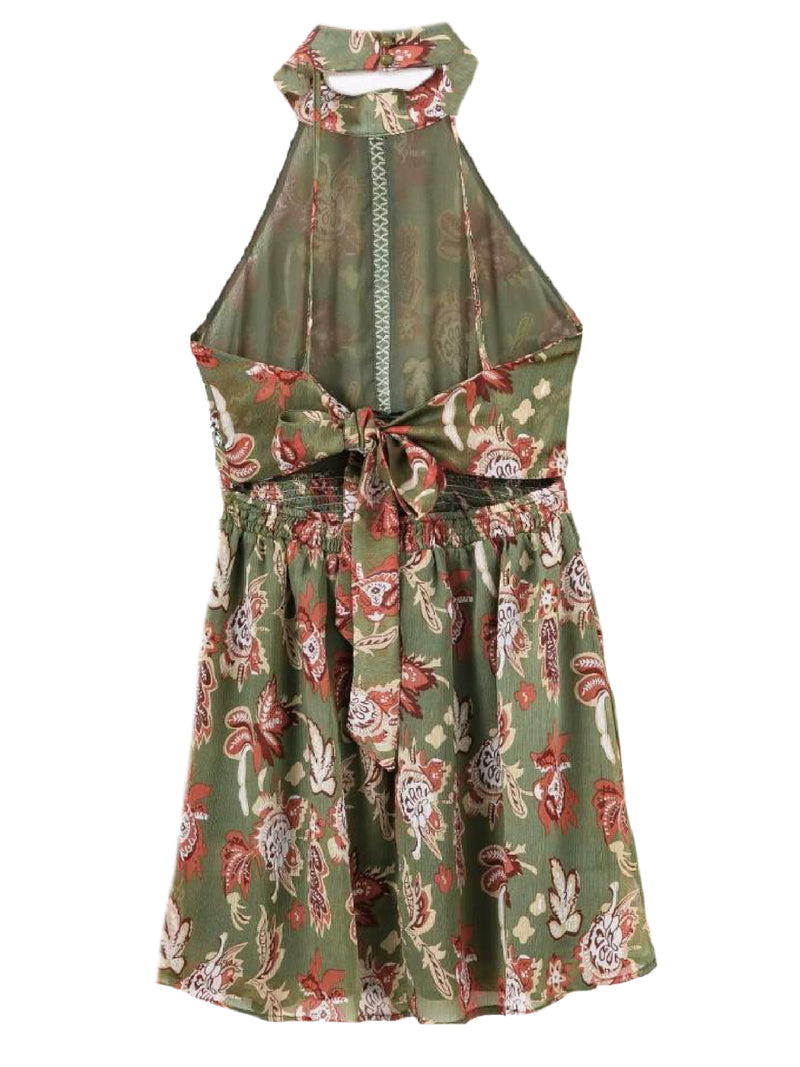 Goodnight Macaroon 'Rhonda' Halter Neck Green Floral Midi Dress Green Back