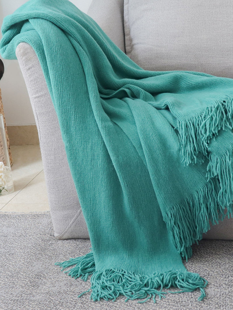 'Sidney' Fringe Throw Blanket (5 Colors)