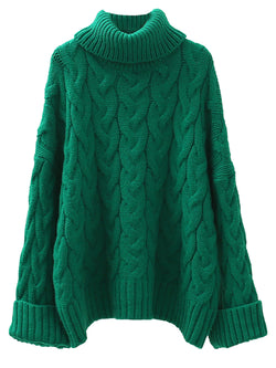'Jacobina' Cable Knit Roll Neck Long Sweater (3 Colors)