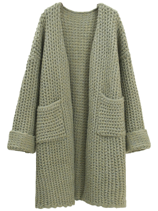'Charlotte' Waffle Knit Open Cardigan with Pockets (4 Colors)