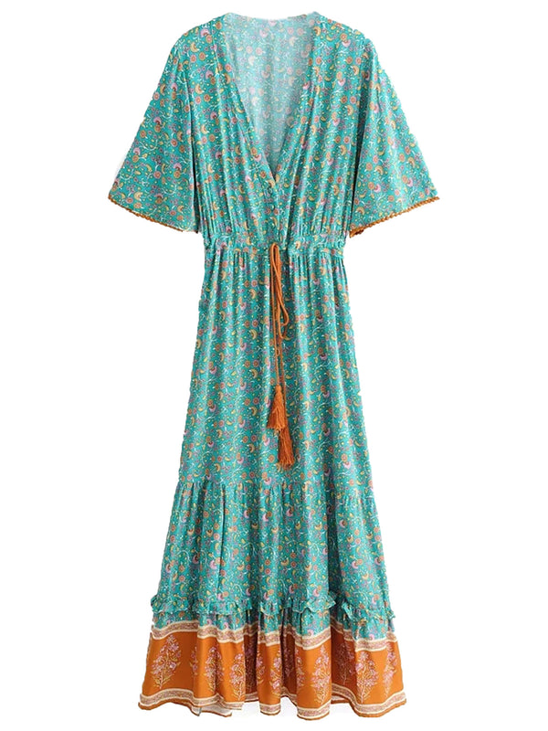 'Celine' Bohemian Floral Print Wasit Tied Tassel V-Neck Maxi Dress (2 Colors)