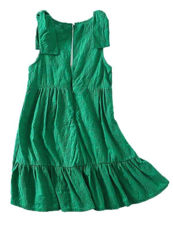 'Lyric' V-neck Cross Embroidered Green Mini Dress