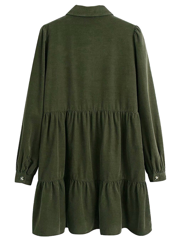 'Arianna' Button Front Green Corduroy Dolly Dress