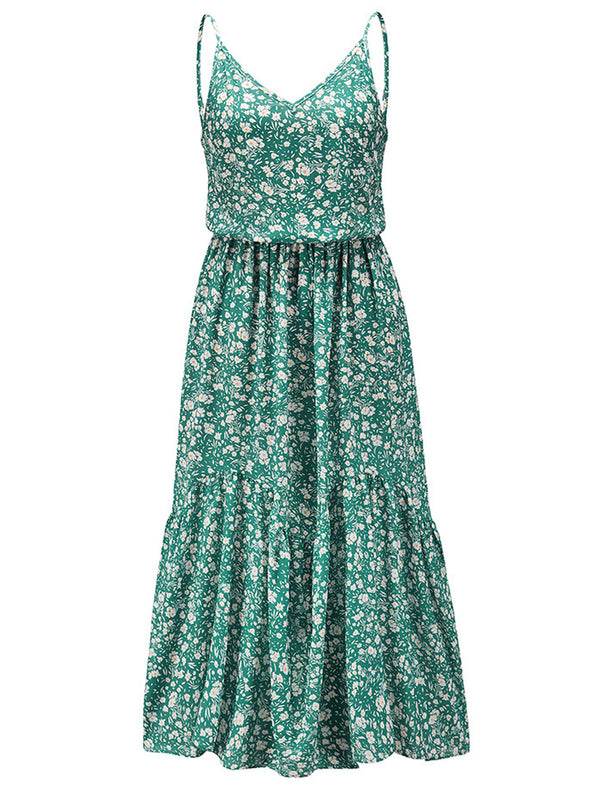 'Jordan' V-Neck Floral Midi Dress (2 Colors)