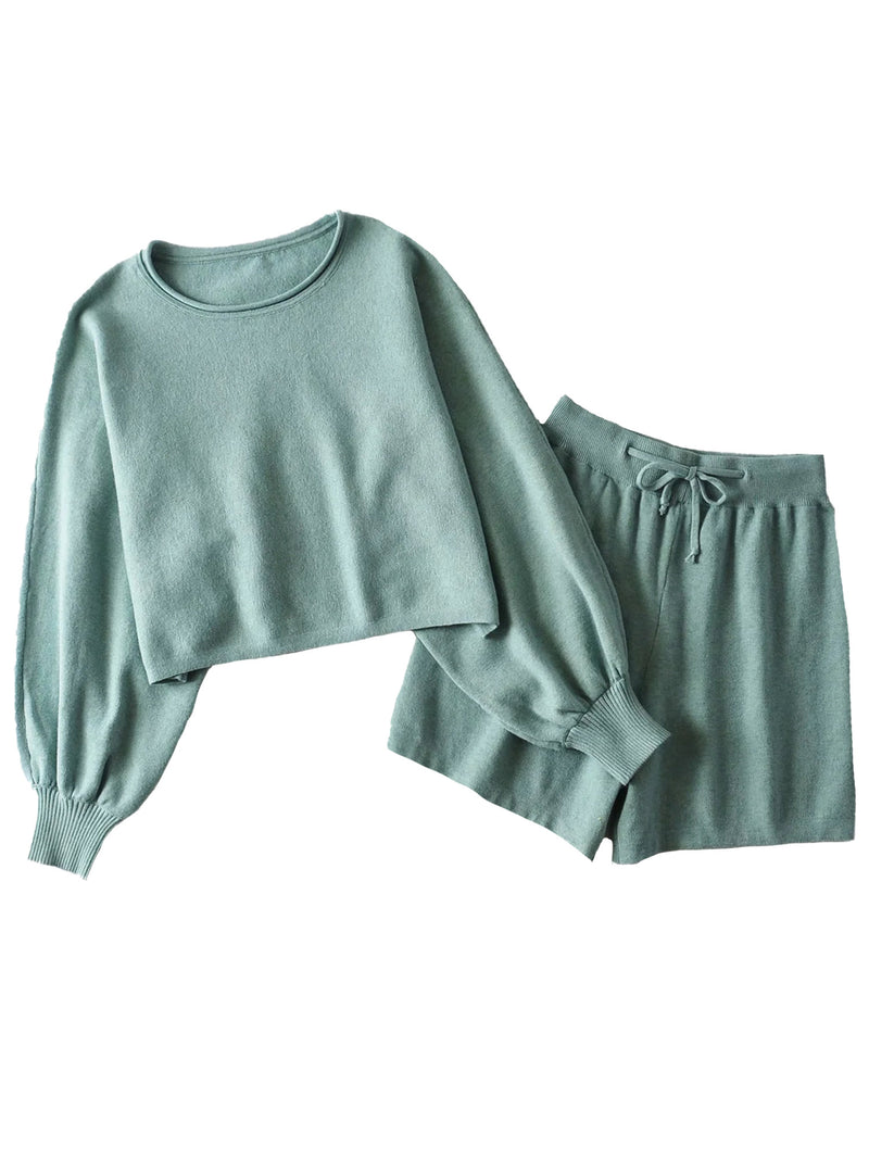 'Fernanda' Knitted Sweater and Shorts Set (4 Colors)