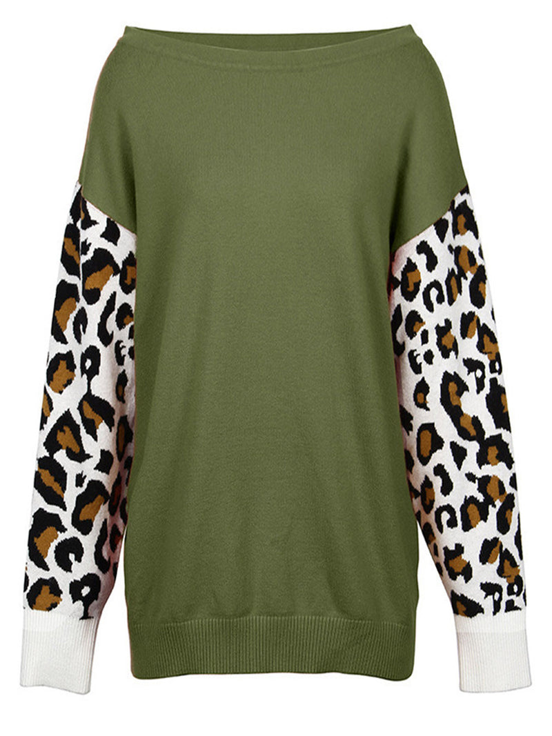 'Michaela' Leopard Sleeve Sweater (4 Colors)