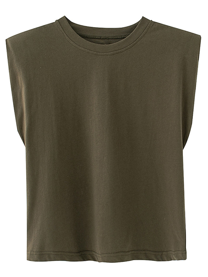 'Emery' Padded Shoulder Sleeveless T-shirt (6 Colors)