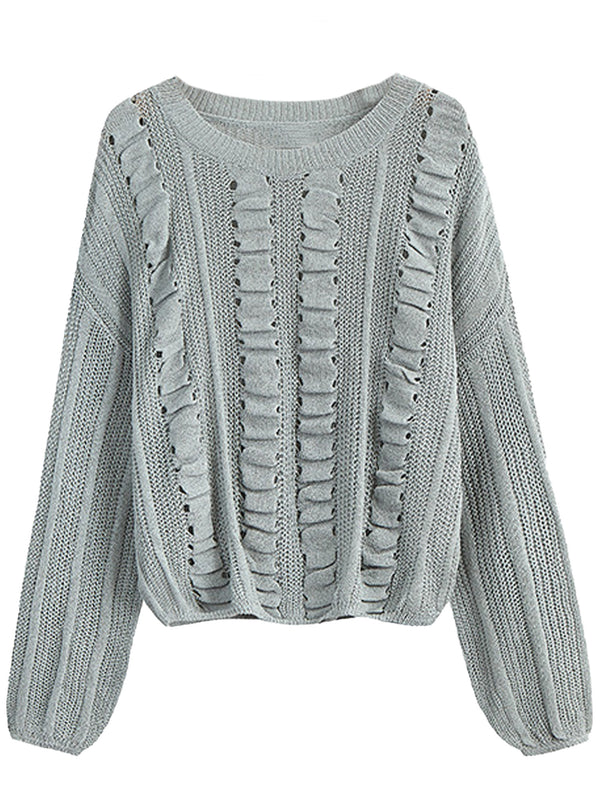 'Brielle' Ruffle Detail Light weight Sweater (3 Colors)