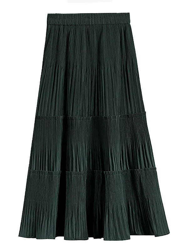 'Jessica' Velvet Pleated Tier Midi Skirt (3 Colors)