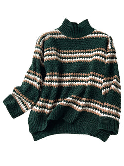 High Neck Ribbed Chenille Green Sweater