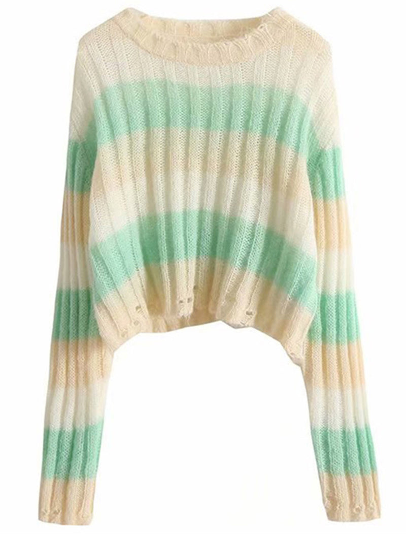 'Heather' Striped Ribbed Distressed Sweater (2 Colors)