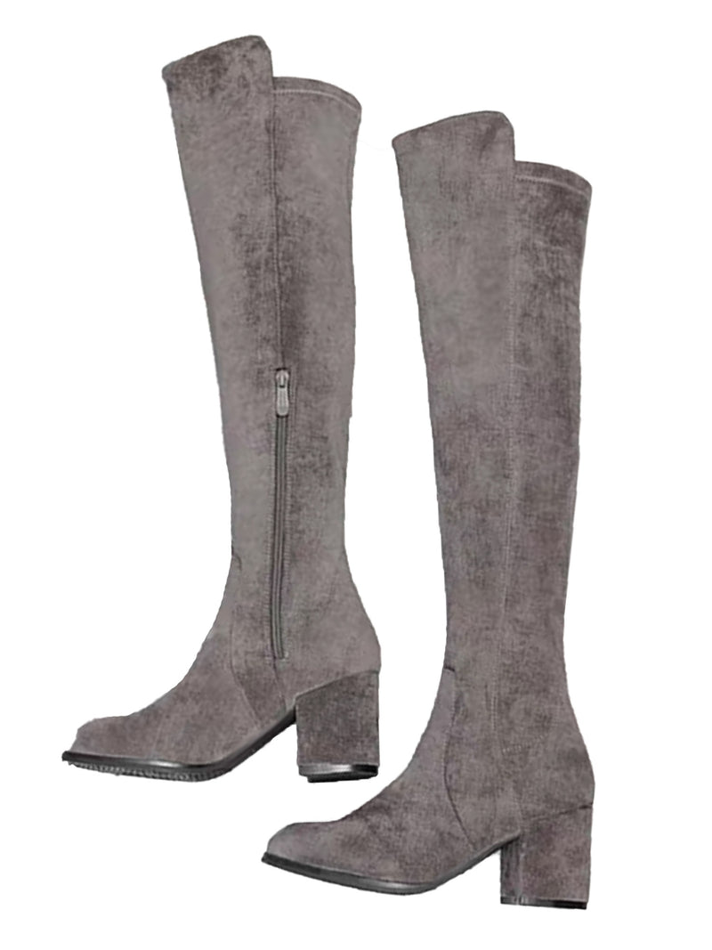 'Emmylou' Heeled Faux Suede Knee High Boots (2 Colors)
