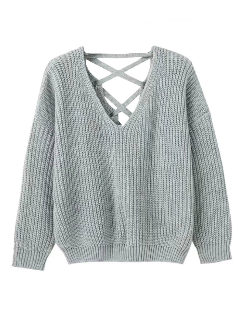 'Isabella' Criss Cross Cropped Sweater (5 Colors)