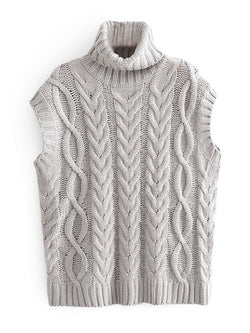 'Chloe' Sleeveless Cable Knit Turtleneck Sweater