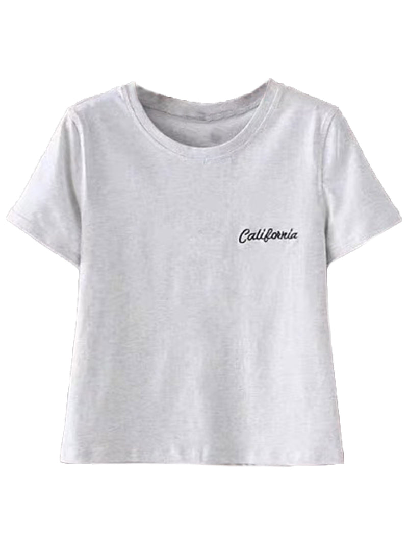 'Gillian' State Crewneck Cropped Tee (4 Colors)
