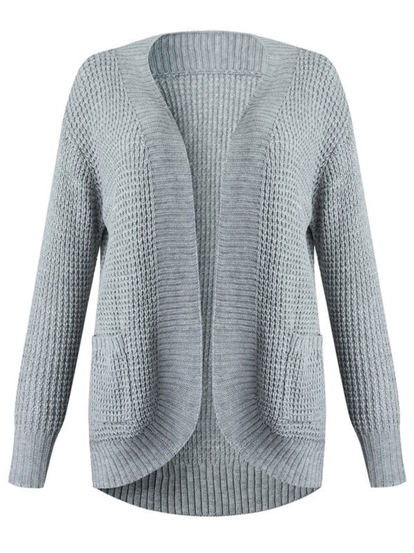'Madeline' Waffle Knit Open Cardigan with Pockets (6 Colors)