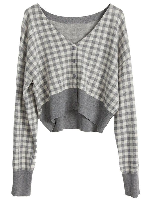 'Yannie' Checked Cropped Button Down Cardigan (2 Colors)