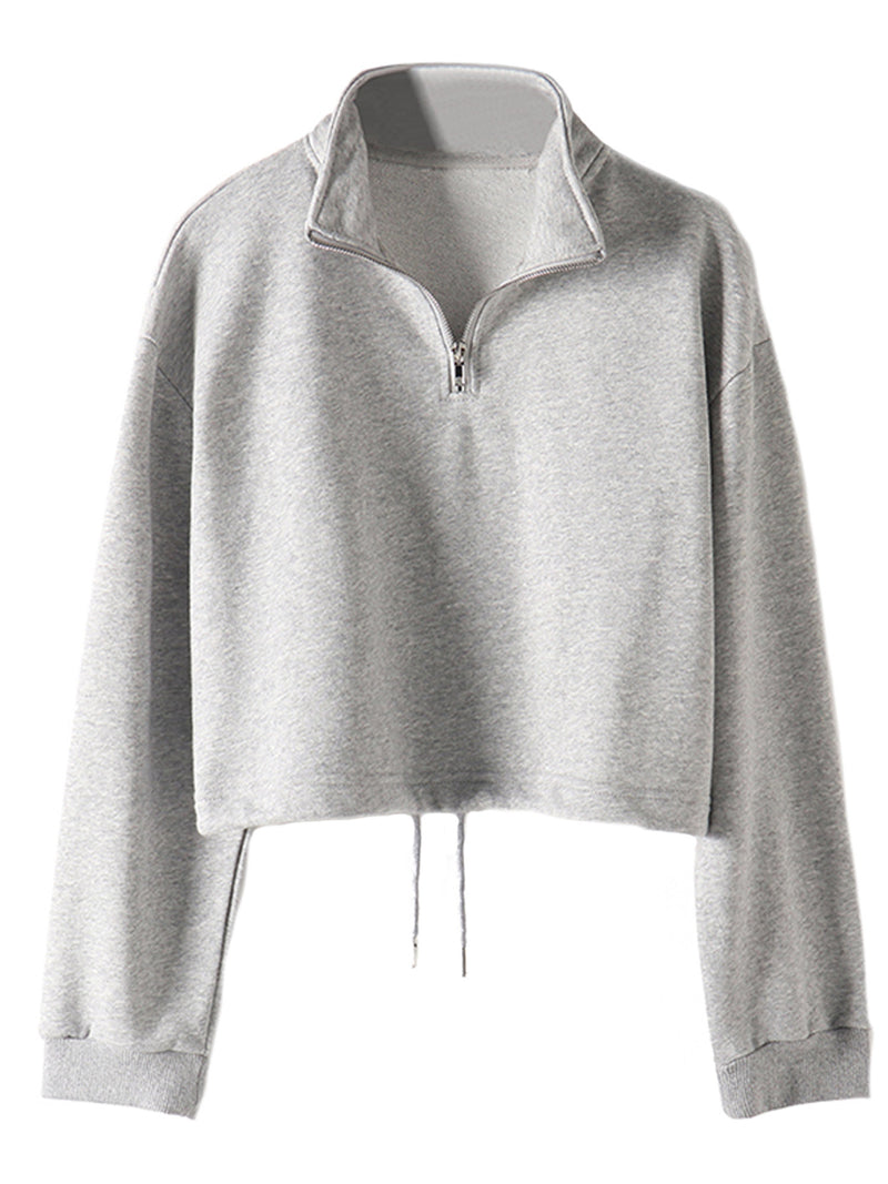 'Veronica' Stand Up Zip Collar Cropped Sweatshirt (3 Colors)