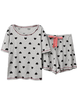 'Genesis' Heart Print Ribbed PJ Set (3 Colors)