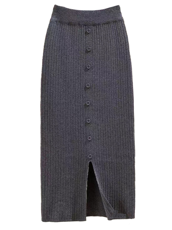 'Yvonne' Ribbed Slit Button Midi Skirt (5 Colors)