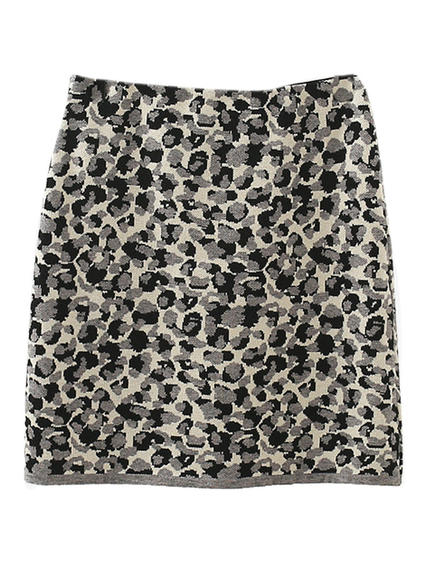 'Yanis' Leopard Print Knitted Mini Skirt (2 Colors)