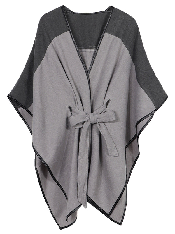 'Kiara' Two-tone Waist Tie Poncho (3 Colors)