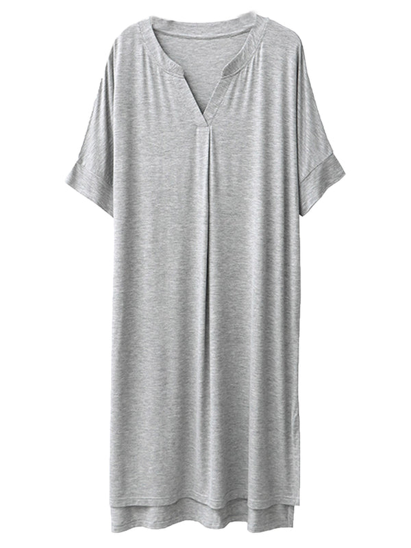 'Hailey' V-Neck Modal Cotton Short Sleeves Midi PJ Dress (4 Colors)
